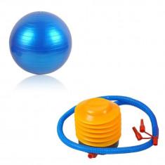 Set Pompa + Minge pentru Fitness, Recuperare sau Gimnastica, Diametru 55cm, Culoare Albastru