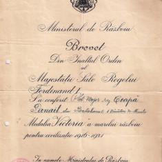 "BREVET PENTRU  MEDALIA ""VICTORIA A MARELUI RAZBOIU PT. CIVILIZATIE 1916-1921"""