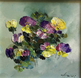 Tablou ulei (15/15 )- PANSELUTE, Flori, Impresionism