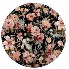 Platou rotativ din lemn, platou servire cu flori, Diametru 30 cm