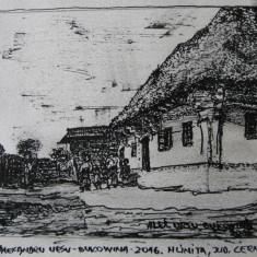 Alexandru Ursu-Bukowina - Gospodărie din Hlinița, județul Cernăuți, interbelic
