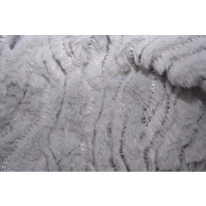 Fular calduros Dave cu insertii de paiete,model circular,nuanta de gri