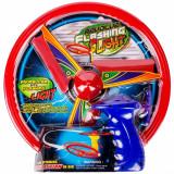 Disc zburator cu lansator, cu lumini, 11cm, multicolor