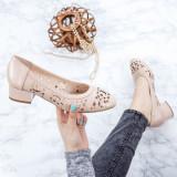 Pantofi cu toc mic Piele dama bej Magdisa