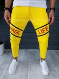 Pantaloni de trening pentru barbati - slim fit -negru- A8588