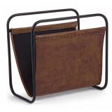 Suport pentru reviste din metal si piele naturala Charleston Maro, l39xA24xH37 cm