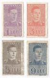 România, lot 260 cu 4 timbre fiscale generale, Mihai, cadru drept., 1941, MNH, Nestampilat