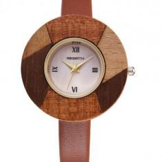 Ceas elegant de dama, cadran lemn, model deosebit + cutie CADOU