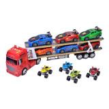 Camion tip transportor masini de curse Truck, scara 1:24, 6 masinute, 4 x atv-uri incluse, 3 ani+, General