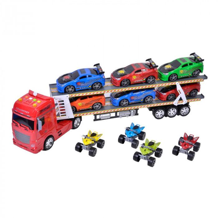 Camion tip transportor masini de curse Truck, scara 1:24, 6 masinute, 4 x atv-uri incluse, 3 ani+