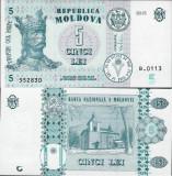 = MOLDOVA - 5 LEI  - 2015 - UNC =