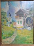 Cumpara ieftin Peisaj Casa cu flori si moara de apa, semnatura indescifrabila, 30x29 cm, ulei, Peisaje, Realism