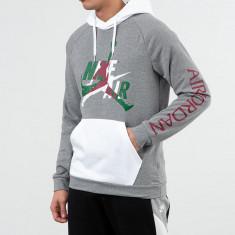 Jordan Jumpman Classics LTWT Fleece Pullover Hoodie Carbon Heather/ White