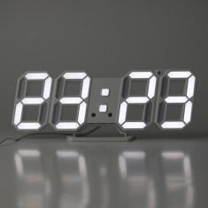 Ceas digital de birou, iluminat LED alb rece, afisaj mare, alarma, temperatura