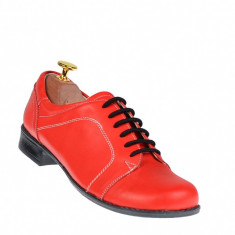 Lichidare marimea 39, 40 Pantofi rosii dama casual din piele naturala - Cod: LRED1R