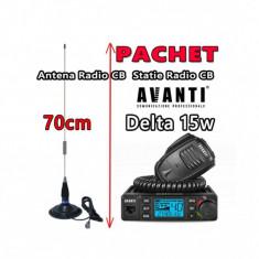 Pachet Statie Radio CB AVANTI Delta reglabila 4w -> 15W Autosquelch 12V – 24V Roger Beep + Antena Radio CB Megawat ML70 cu Magnet Megawat 145PL