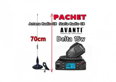 Pachet Statie Radio CB AVANTI Delta reglabila 4w -> 15W Autosquelch 12V – 24V Roger Beep + Antena Radio CB Megawat ML70 cu Magnet Megawat 145PL foto