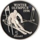 Noua Zeelanda 5 Dollars 1994 Lillehammer, Argint 31.47 g/925, Aoc1 KM-96 UNC !!!