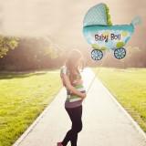 Balon carucior Baby Boy, dimensiuni 107x76 cm, albastru, aer sau heliu
