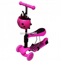 Trotineta Copii Micro Scooter 3in1 2-7 Ani 25Kg Roz