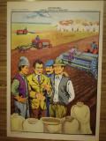 Afis / Plansa scolara, didactica, apx. 70x50 cm, comunism, epoca aur, romanesti