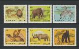 123-AJMAN 1966-Serie de 6 timbre ANIMALE-lei elefanti-zebre,camila,rinocer,urs, Nestampilat