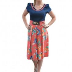 Rochie casual, de vara, culoare corai cu imprimeu de flori