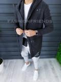 Cardigan barbati gri inchis slim fit ZR T3559, L, M, S, XL, Bumbac, Din imagine