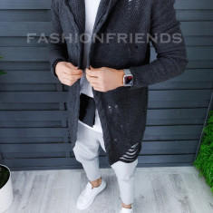 Cardigan barbati gri inchis slim fit ZR T3559