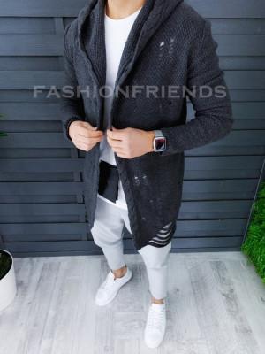 Cardigan barbati gri inchis slim fit ZR T3559 foto