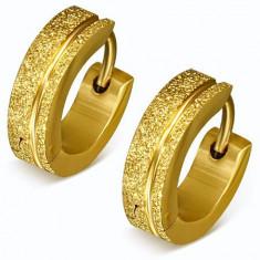 Cercei aurii, sclipitori, din oțel, verigi sablate, dungi