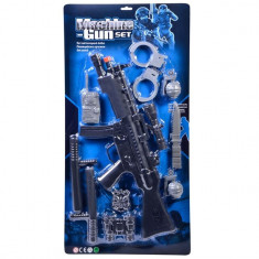 Set arma de jucarie pentru copii, model mitraliera cu 10 accesorii