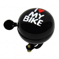 Claxon bicicleta I Love My Bike negru 80mm , sonerie bicicleta