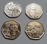 Set complet 4 monede 50 pence 2018, 2019 Paddington unc / necirculate, Europa
