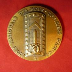 Placheta Militara bronz ,Franta - Scoala Nationala Subofiteri Activi ,d=5,6cm