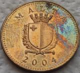 Moneda EXOTICA 1 CENT - MALTA, anul 2004  *cod 2755 = PATINA CURCUBEU CAMEO
