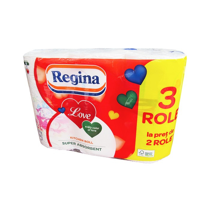 Prosop hartie Regina Love 3 straturi, 3 role/set