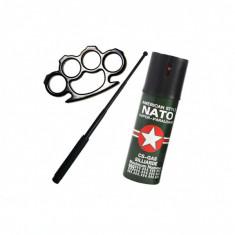 Kit Autoaparare Box Metalic, Spray Nato, Baston Telescopic