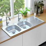 Chiuvetă de bucătărie dublă cu sită și sifon oțel inoxidabil