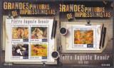 DB Arta Pictura Guineea Tiraj 1000 Nuduri Renoir MS + SS  MNH, Nestampilat