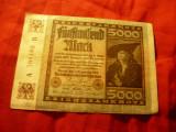Bancnota Germania 1922 - 5000 Marci , serie 6 cifre cu litere departate cal. FB