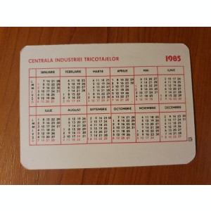 calendar de buzunar din anul 1985