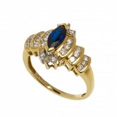 Inel din aur galben 14K cu safir marchiza si diamante, circumferinta 59.5 mm
