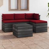 VidaXL Set mobilier grădină paleți cu perne 5 piese lemn masiv de pin