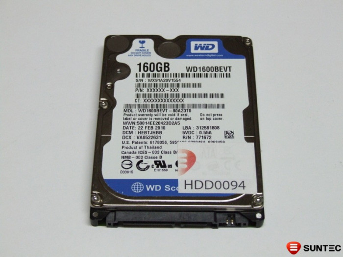 HDD laptop SATA 2.5inch 160GB Western Digital WD1600BEVT NETESTAT