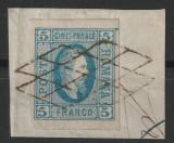 ROMANIA 1865 A.I. CUZA, 5par. STAMPILAT PE FRAGMENT. L.P16, POANSON L.PASCANU.