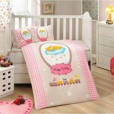 Lenjerie de pat pentru bebelusi, bumbac 100% poplin Bambam Pink, Zen Art Deco