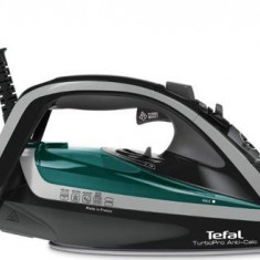 Fier de calcat Tefal Turbo Pro Anti-Calc FV5640E0, Talpa Durilium AirGlide Autoclean, 2600W, 0.3l (Negru-Gri)