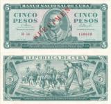 1965, 5 Pesos (P-95cs) - Cuba - SPECIMEN stare UNC