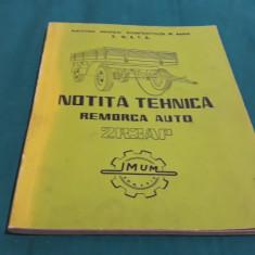 NOTIȚĂ TEHNICĂ REMORCA AUTO 2R3AP+CATALOGUL PIESELOR DE SCHIMB